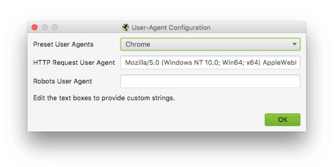 Screaming Frog - User Agent Configuration - Google Scrape